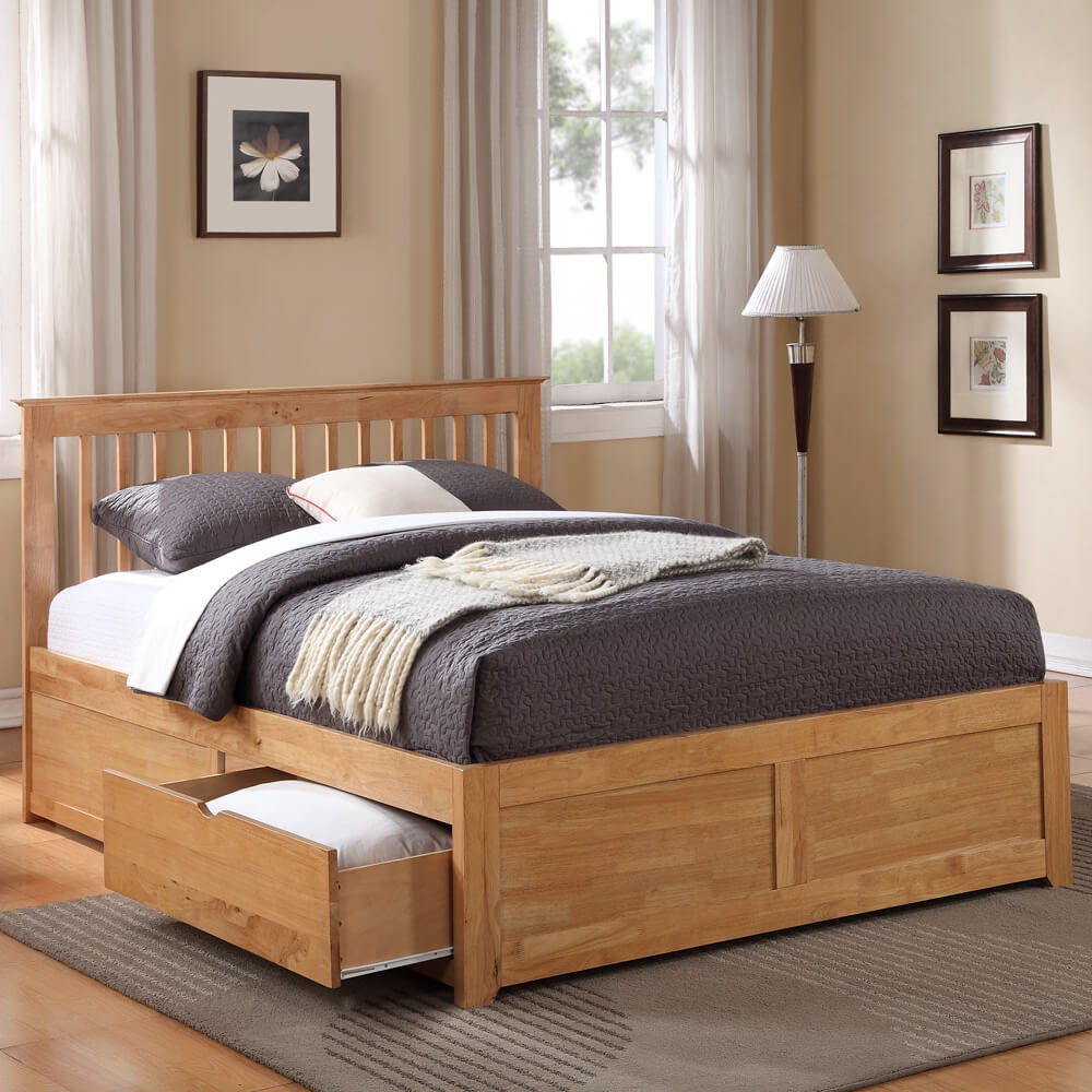 Flintshire Furniture Pentre Oak Fixed Drawer Bed Frame