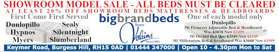 Showroom Model Clearance of Beds Advert