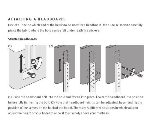 Silentnight headboard fitting