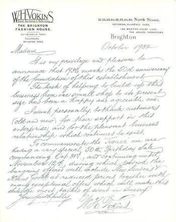 Vokins Sale Letter 1932