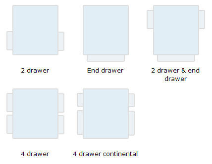 Drawer combinations for double, king and super king sized beds