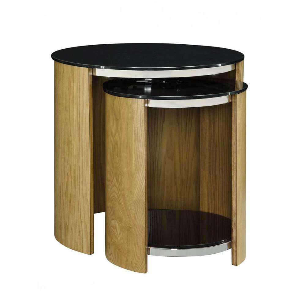Jual Curve Oak JF305 Glass Nest of Tables