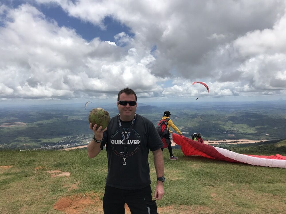 Kev in Brazil, coconuts and flying