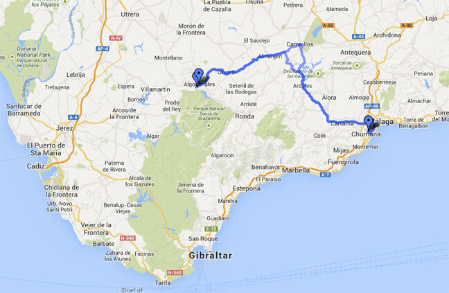 Map of directions for getting to Fly Spain from Malaga airport