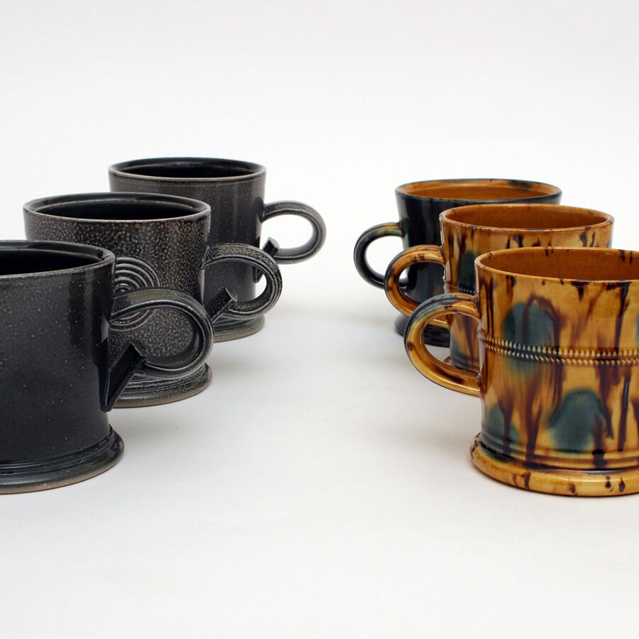 Walter Keeler salt glazed and earthenware mugs