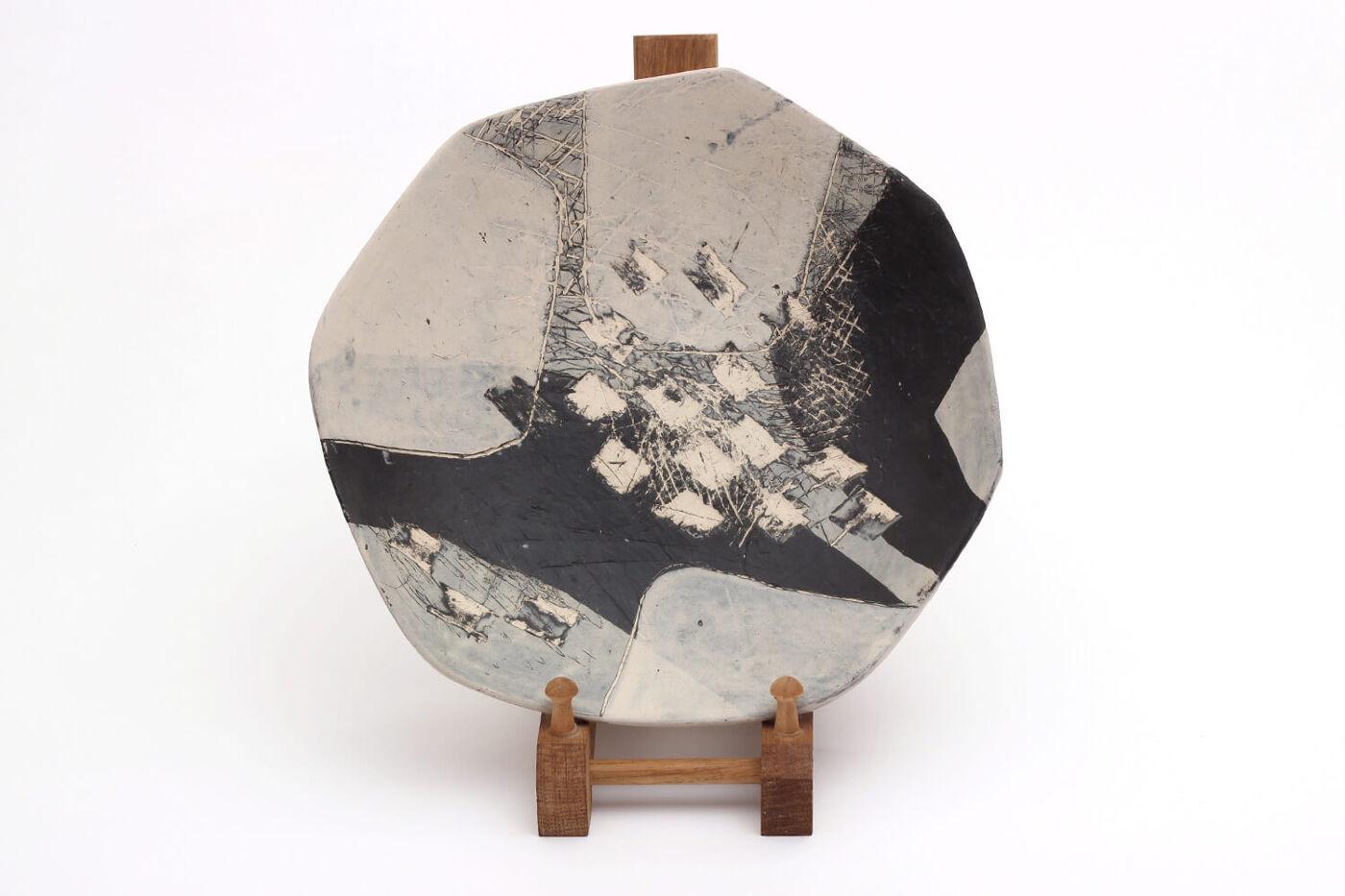 Carolyn Genders Ceramic Black & White Plate