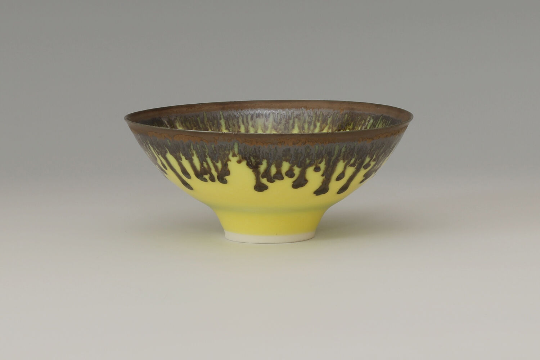 Peter Wills Ceramic Yellow & Bronze Bowl 163
