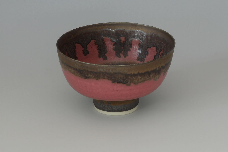 Peter Wills Ceramic Pink & Bronze Bowl 185