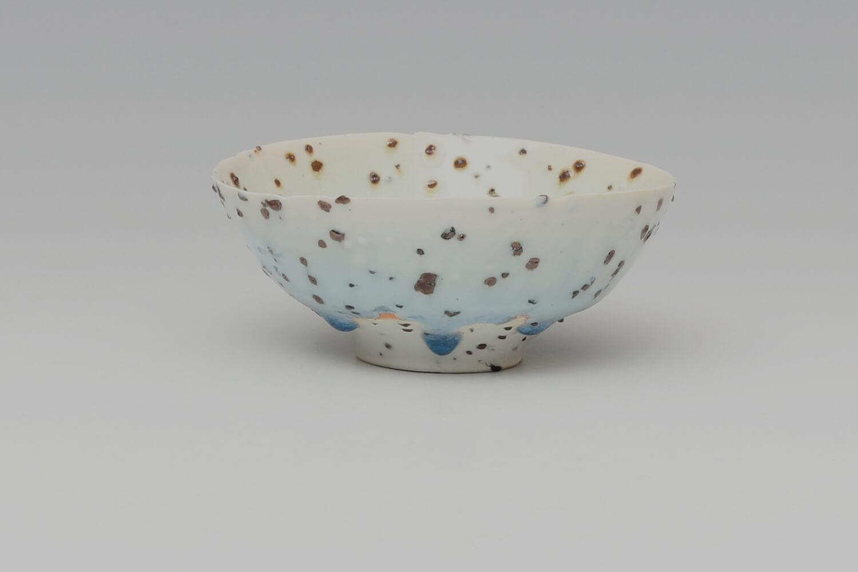 Peter Wills Ceramic Pale Blue & Cream River Grogged Porcelain Bowl 199