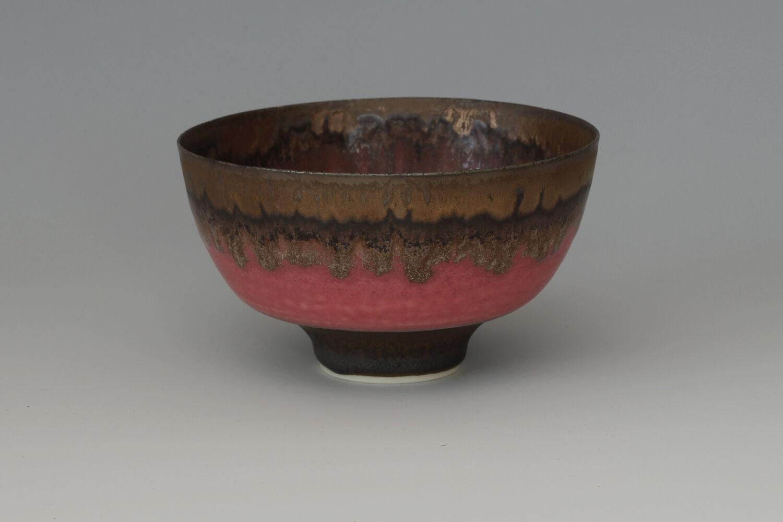 Peter Wills Ceramic Pink & Bronze Bowl 184