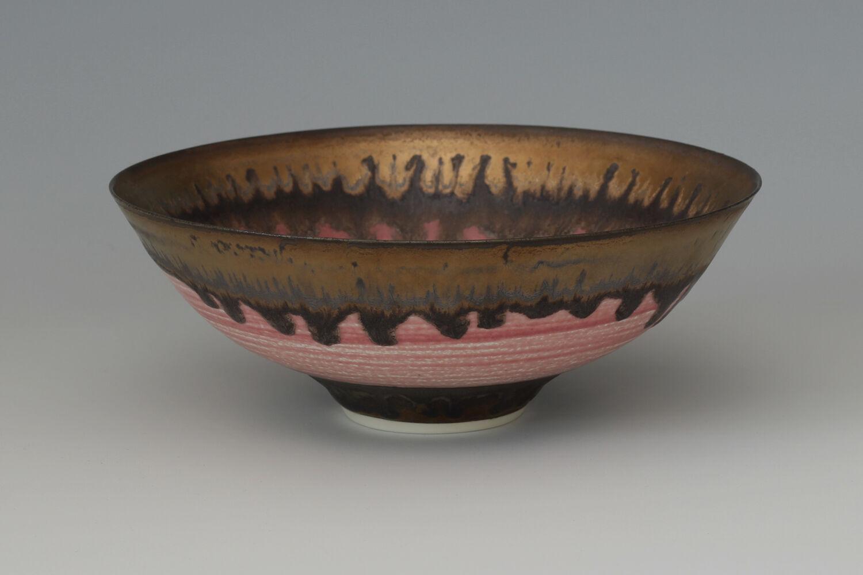 Peter Wills Ceramic Pink & Bronze Bowl 187