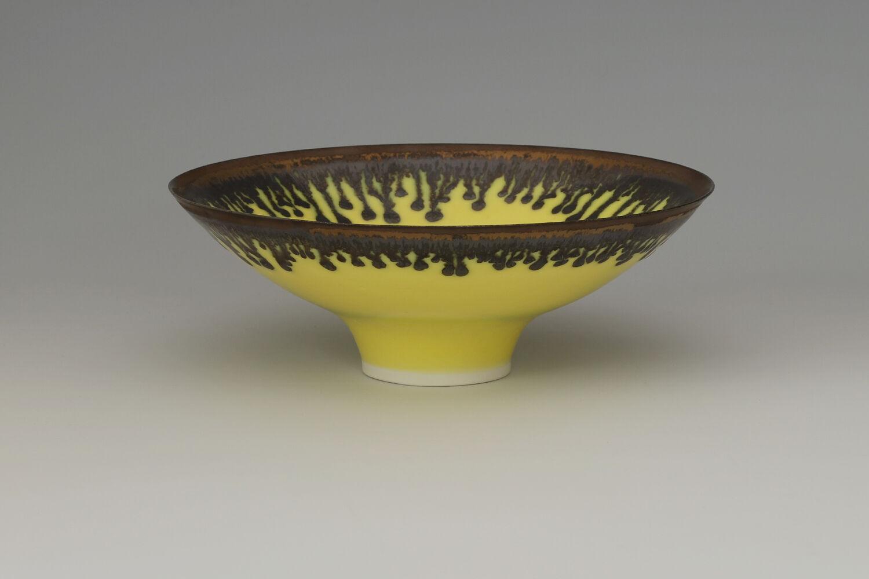 Peter Wills Ceramic Yellow & Bronze Porcelain Bowl 181
