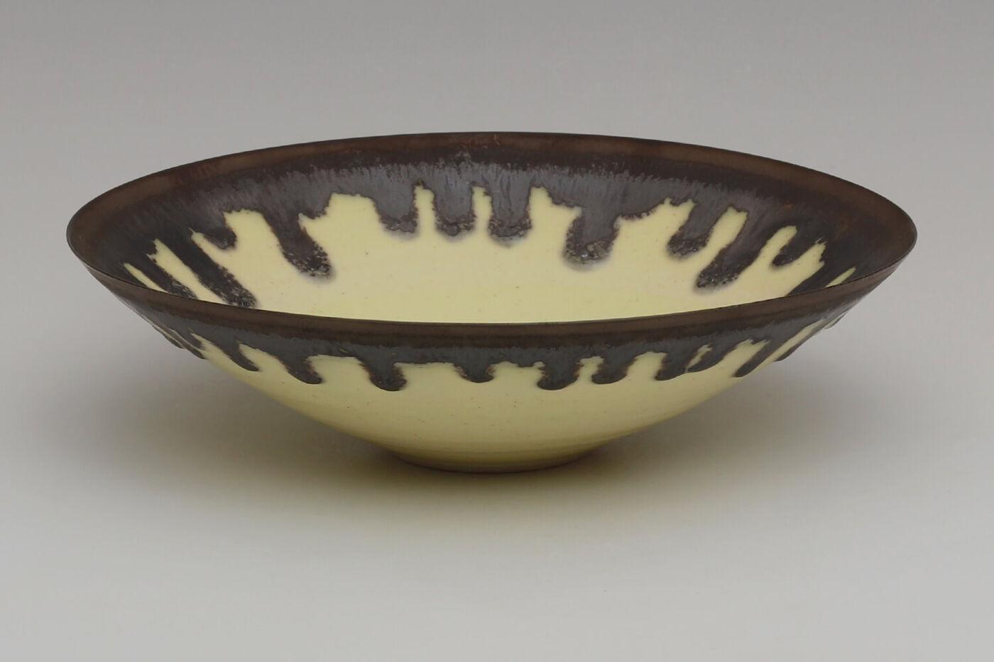 Peter Wills Ceramic Pale Flecked Yellow Porcelain Bowl 202