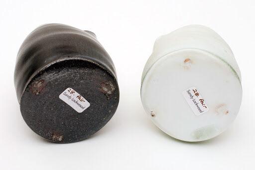 Sandy Lockwood pair of Black & White Ceramic Jugs
