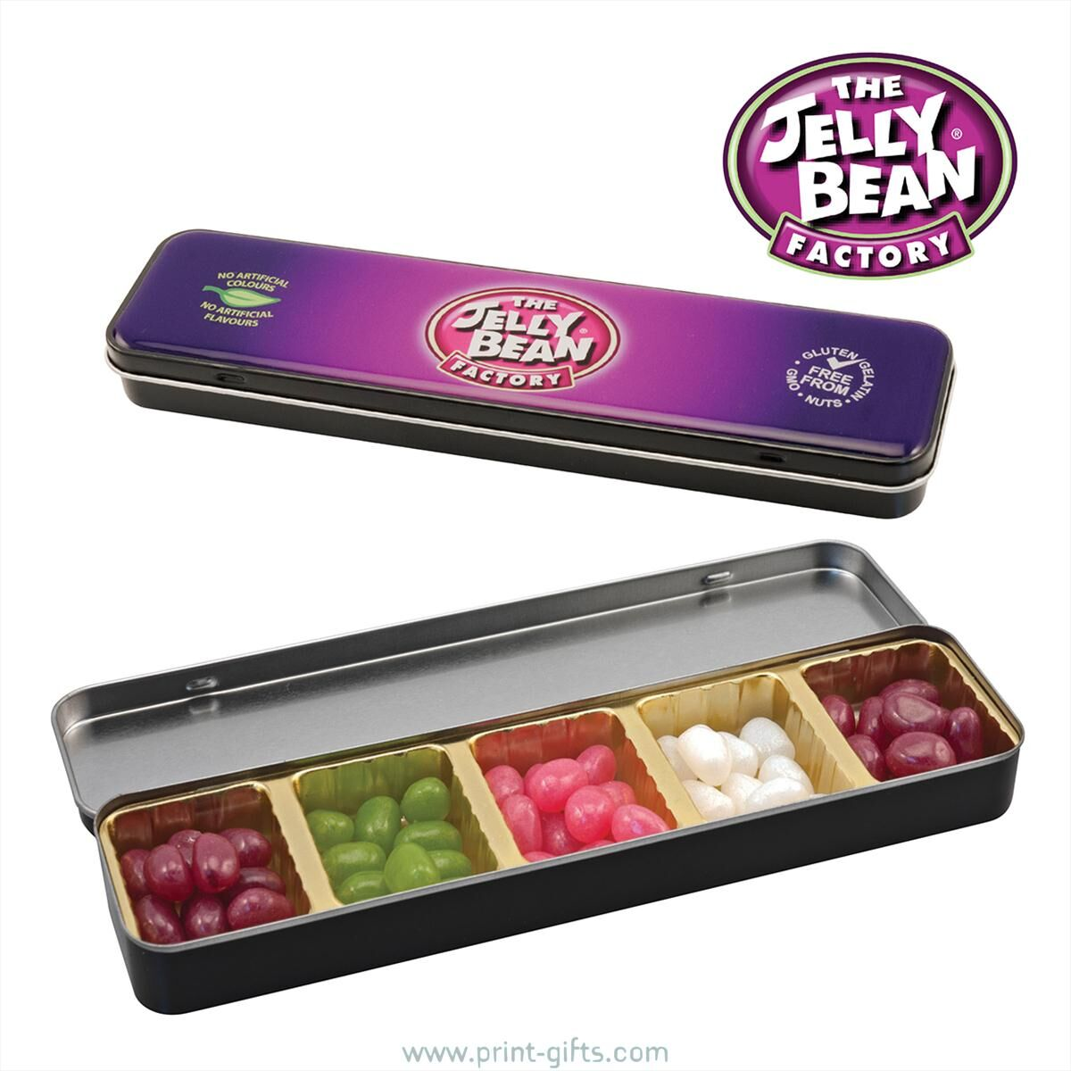 Printed Tins of Gourmet Jelly Beans