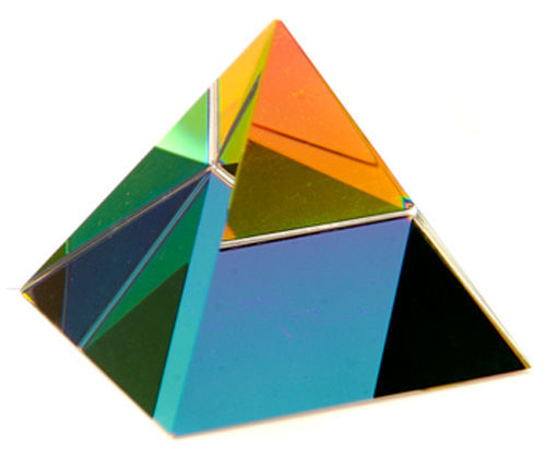 5 cm Coloured Optical Crystal Pyramid