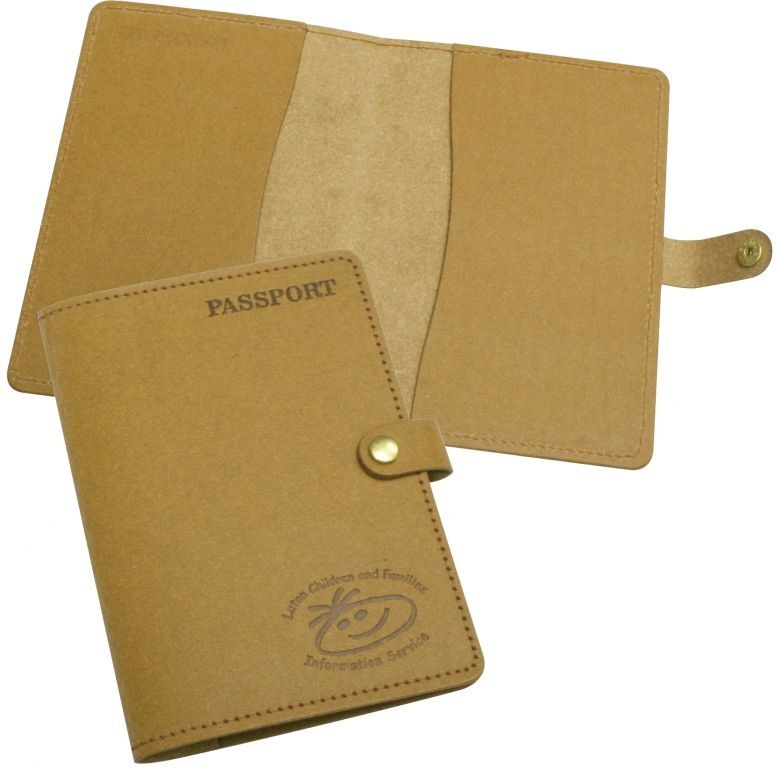 Leather Passport & Business Card Wallet Embossed