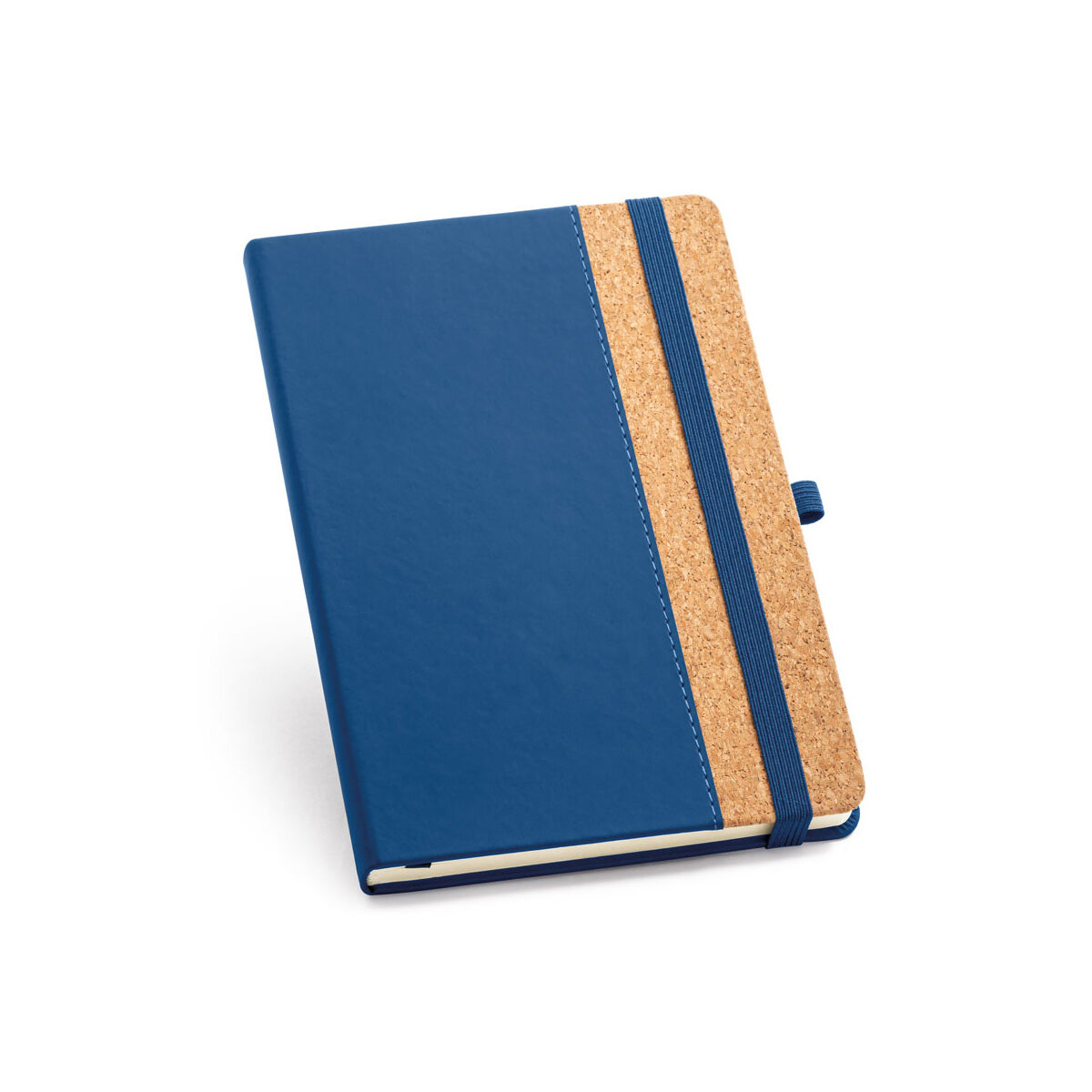 A5 Notebook with PU and Cork Cover in Blue Colour