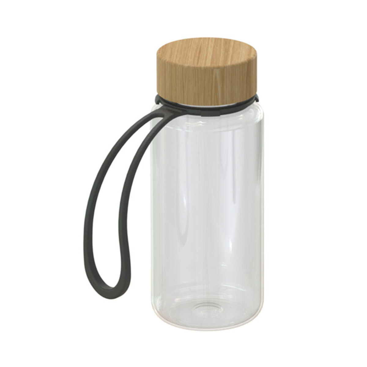 Bamboo lid bottle with silicone carry strap