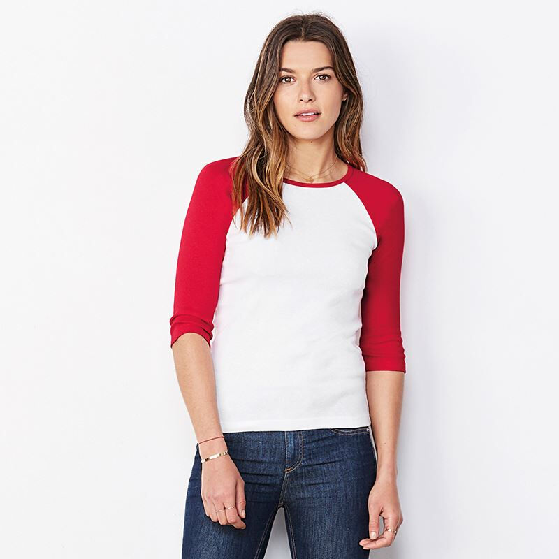 Bella & Canvas Ladies Sleeve Contrast T-shirt White / Red