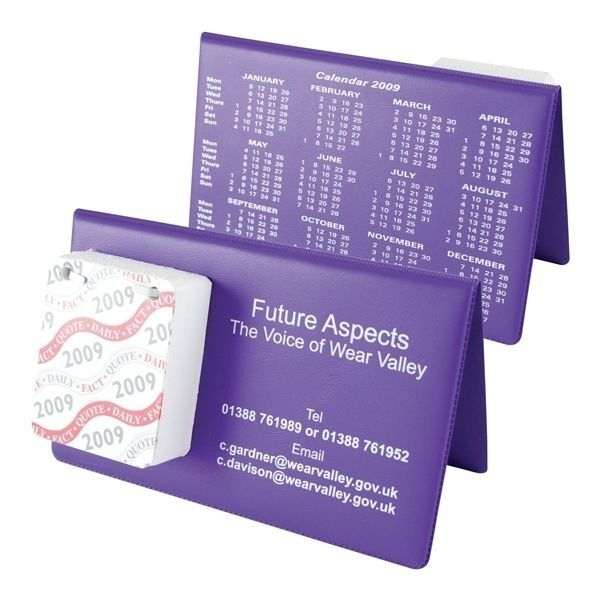Branded PVC Desktop Calendar with Tear Off Paper Pages