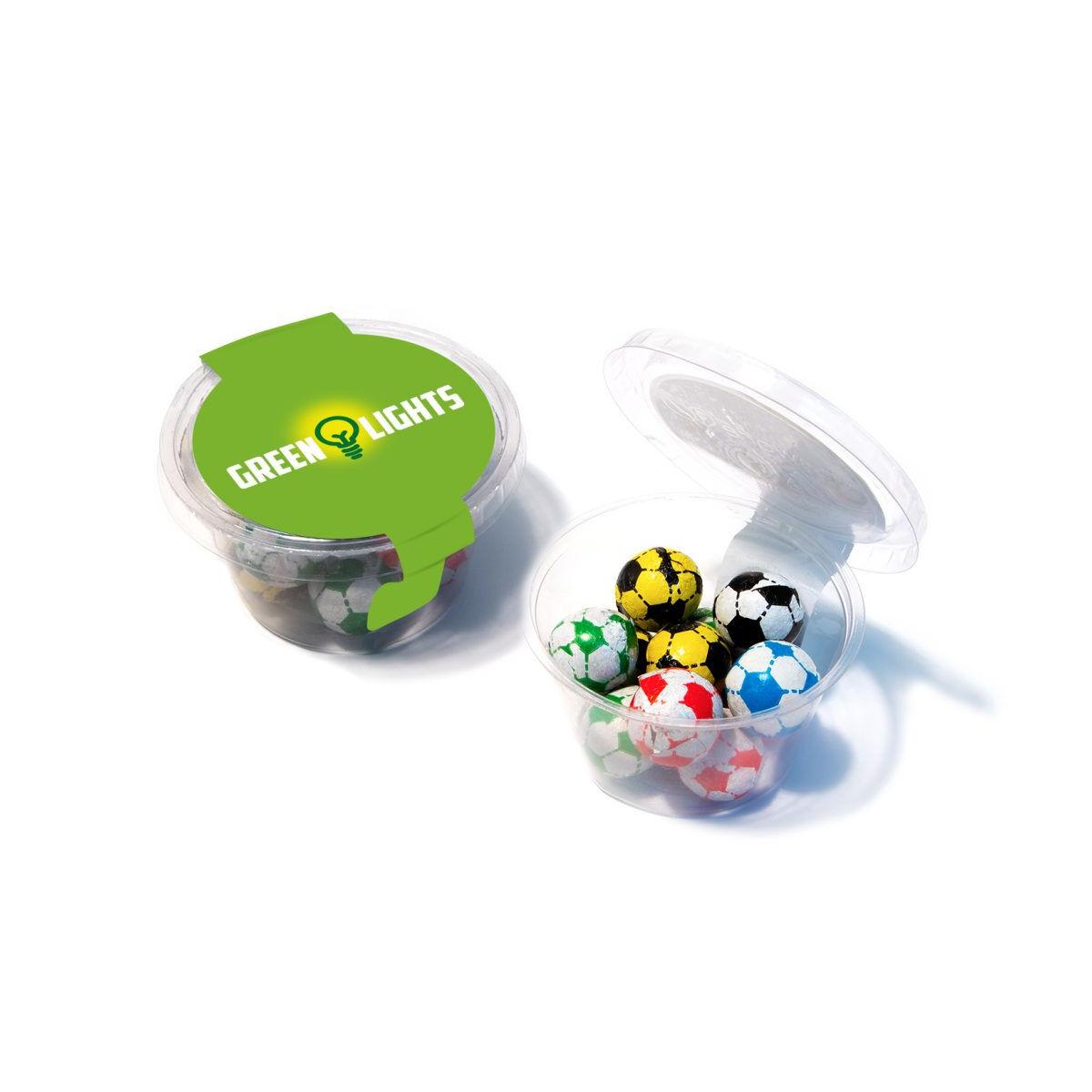 Chocolate Mini Footballs in Compostable Pots
