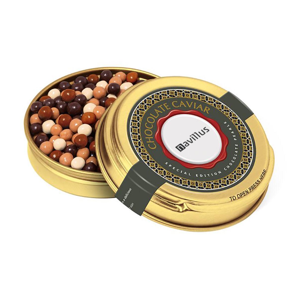 Chocolate Pearls in Caviar Tins