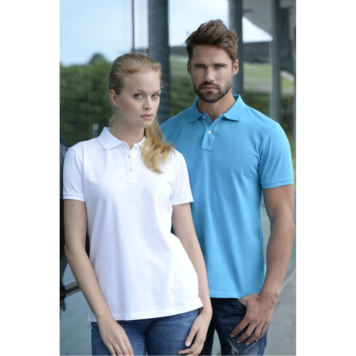 Clique Premium Polo Shirt (White / Turquoise)