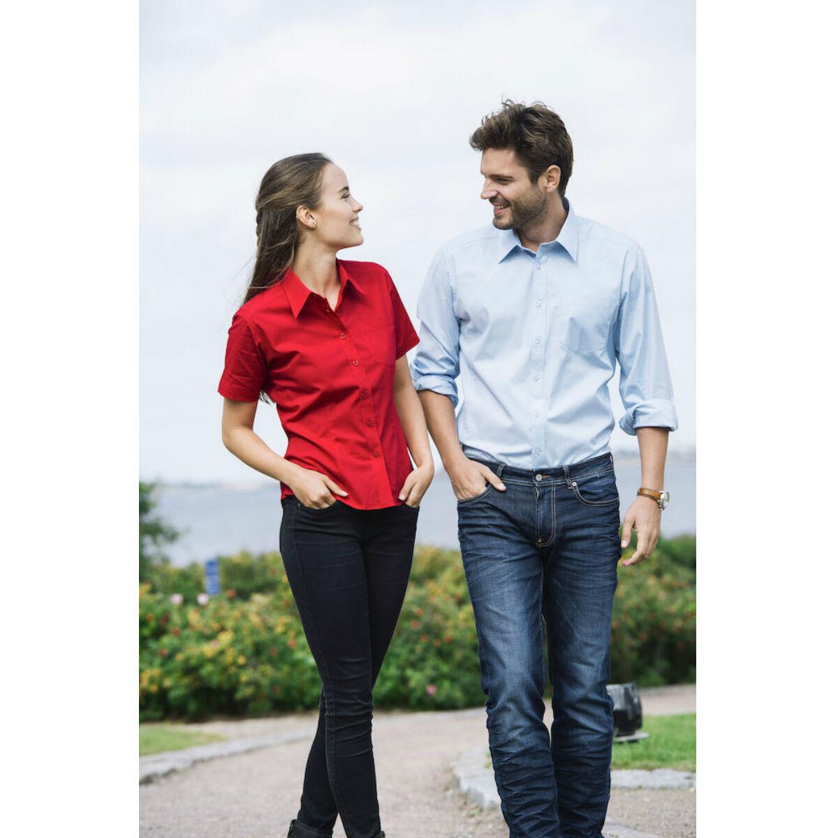 Clique Short Sleeved Shirt (Red / Light Blue)