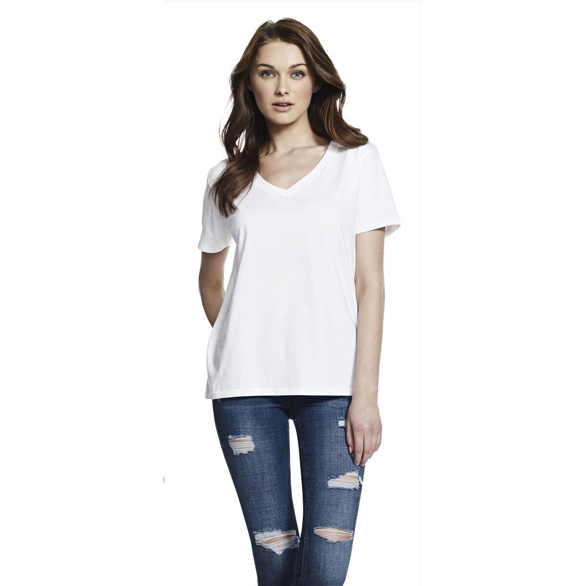 Continental V Neck Cotton Jersey T-Shirt (Ladies)