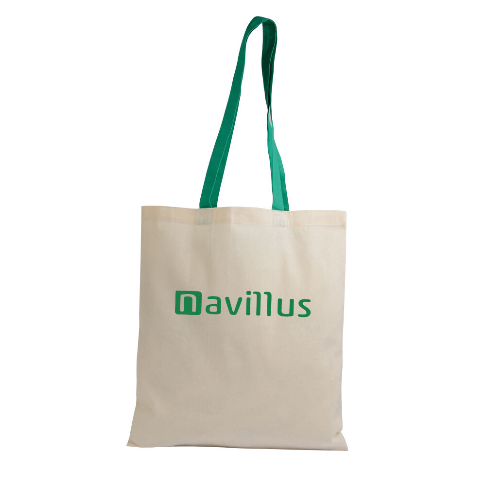 Cotton Tote with Contrasting Colour Handles