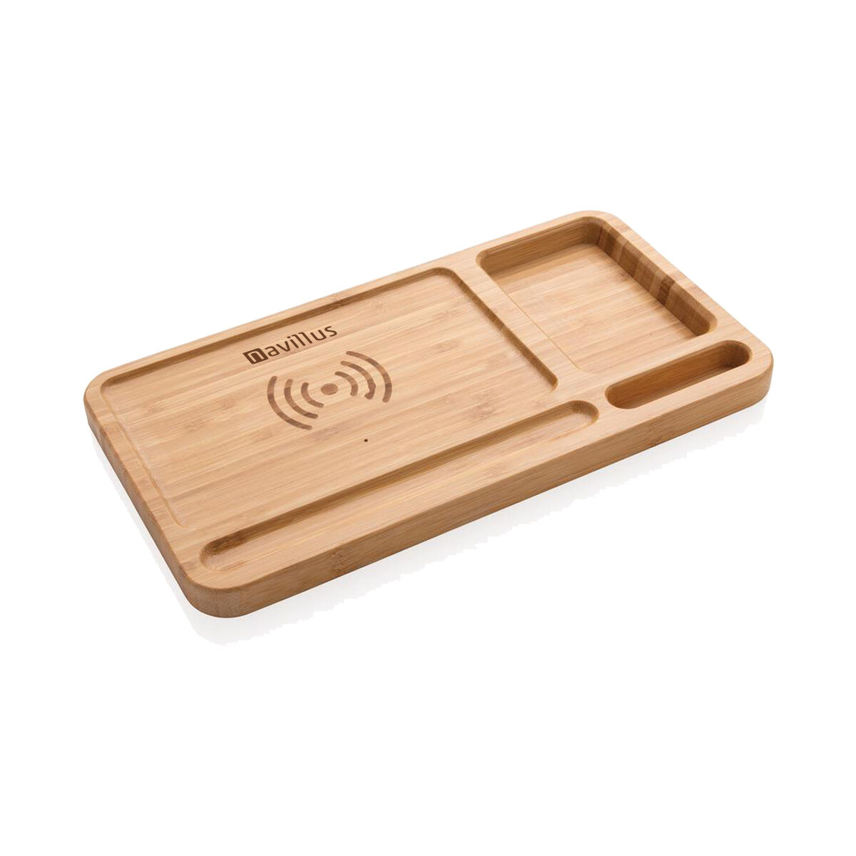 Bamboo Desk Organiser Wireless Charger