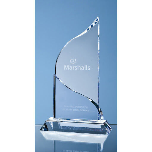 22cm Crystal Flat Mounted Award