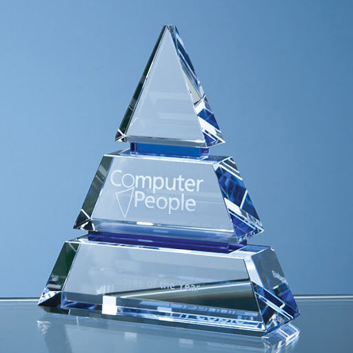 Engraved Optical Crystal Pyramid Award