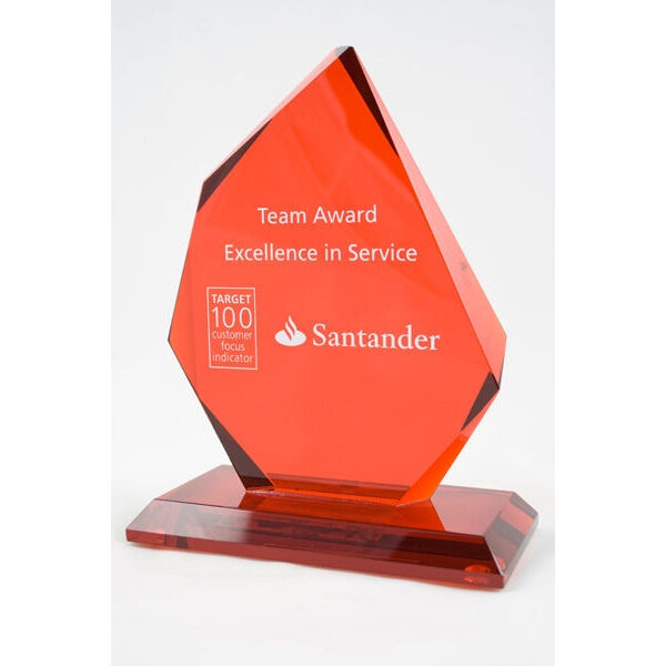 Flame Shaped Glass Awards Engraved