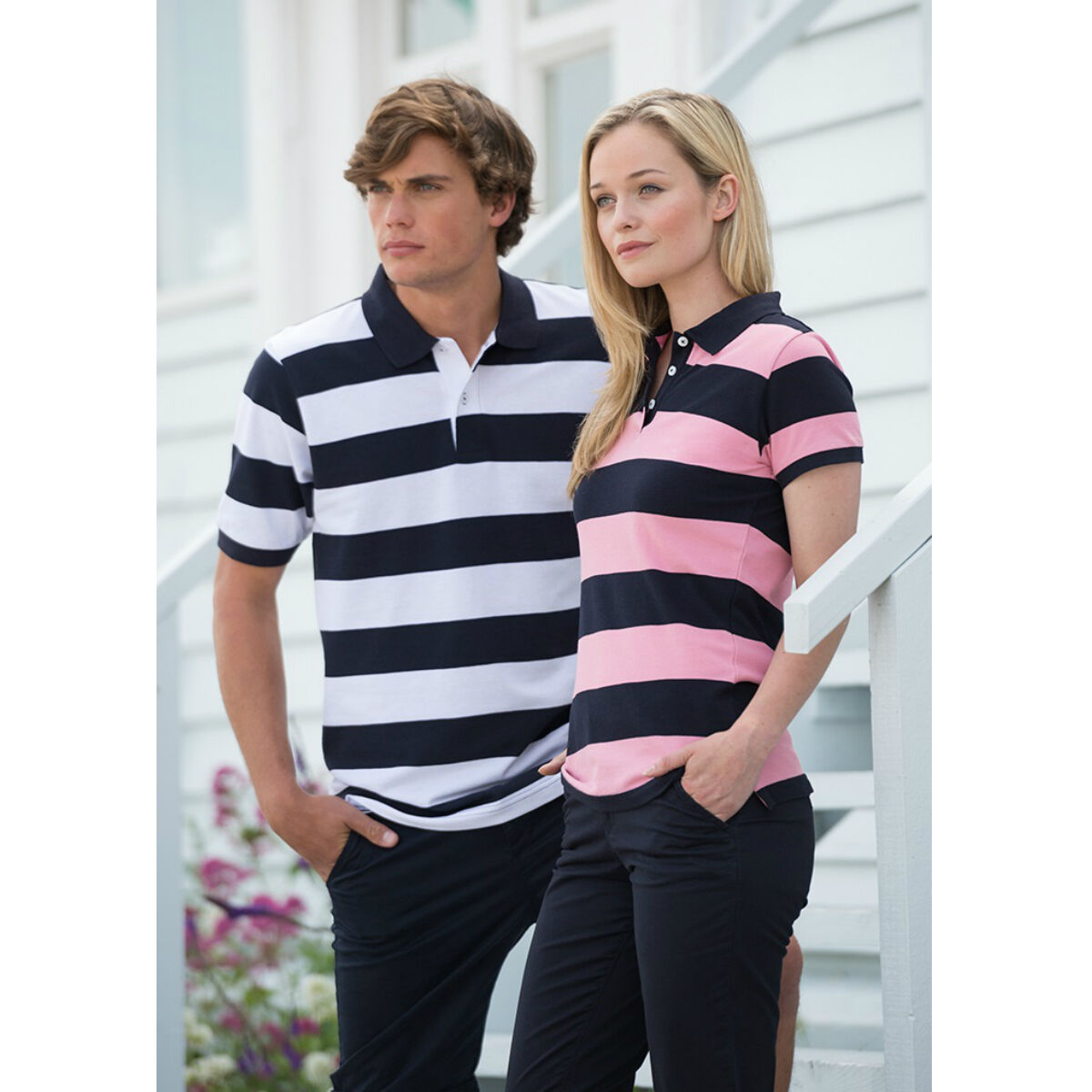Front Row Polo Shirt (Heather Grey / Navy & Pink/ Navy)