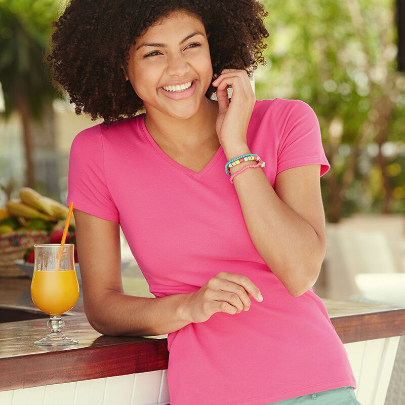 Fruit of the Loom Lady Fit V Neck T Shirt