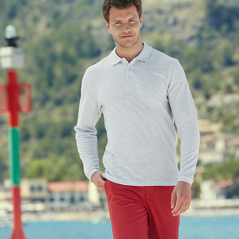Fruit of the Loom Long Sleeve Polo Shirt