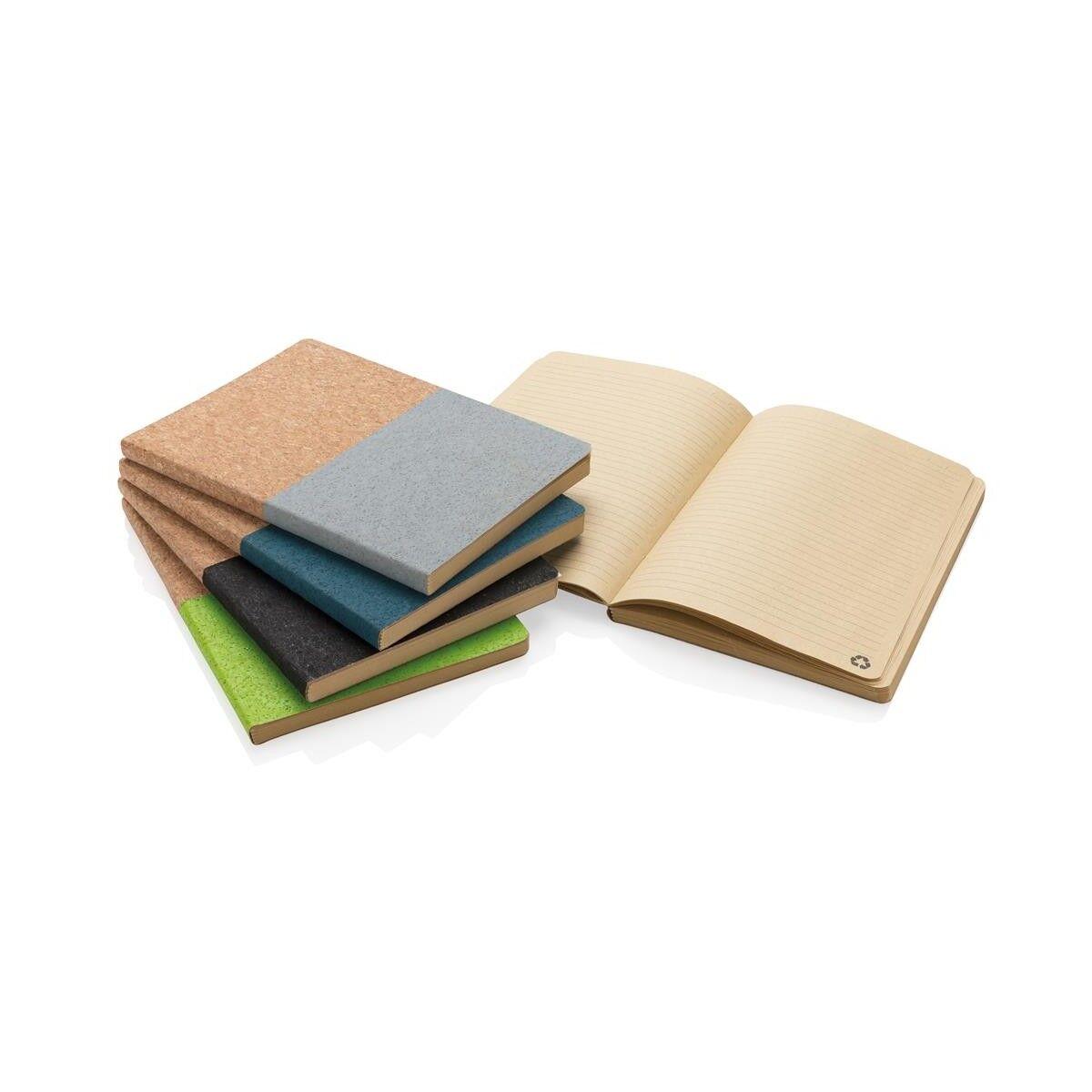 Half colour cork notebook