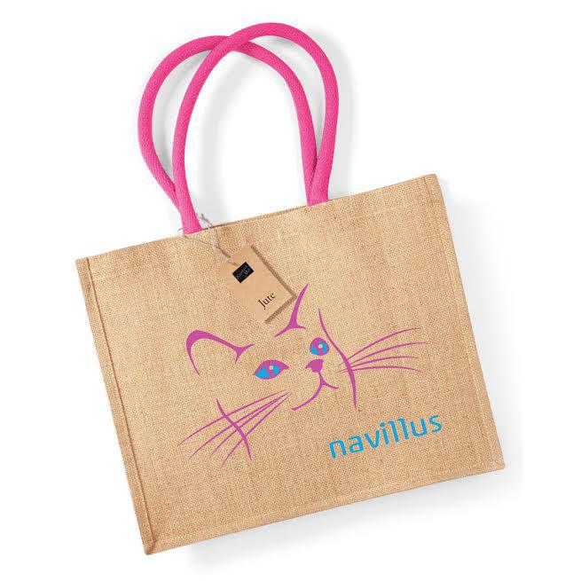 Printed Jute Bags Pink Handles
