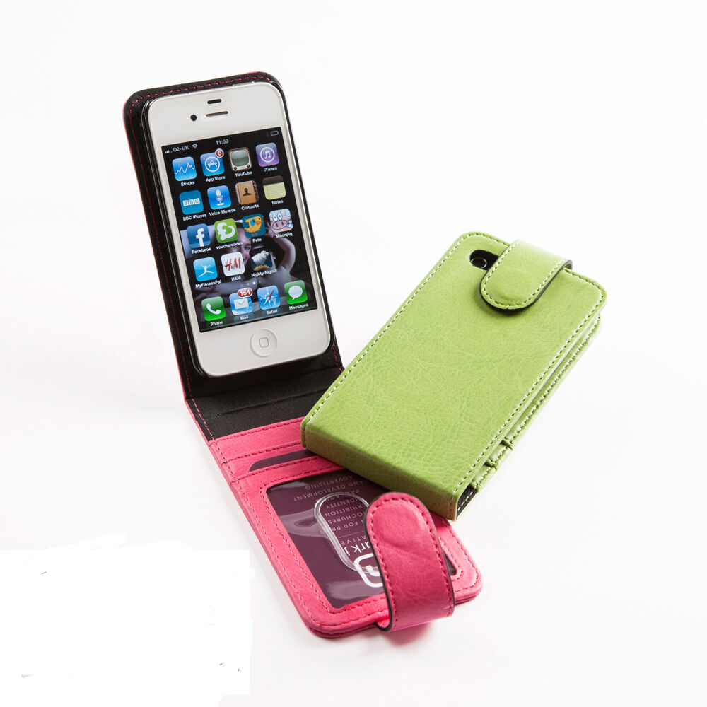 PU Leather Flip Up iPhone 5 Case with Strap