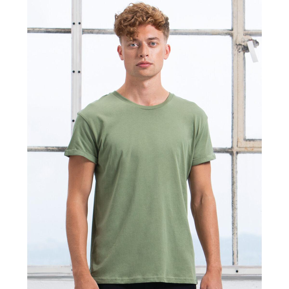Mantis Roll Sleeve T Shirt - Soft Olive