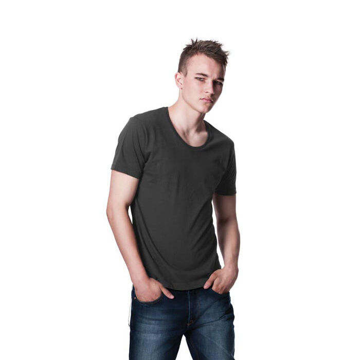 Scooped Neck T-Shirt (Charcoal Grey)
