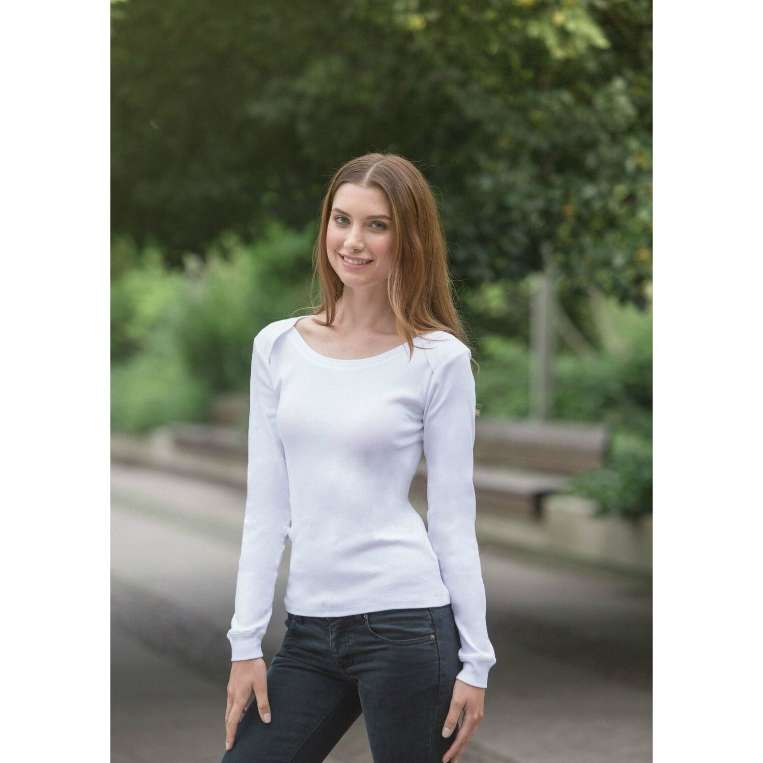 Neutral Long Sleeve Organic Ladies T-shirt
