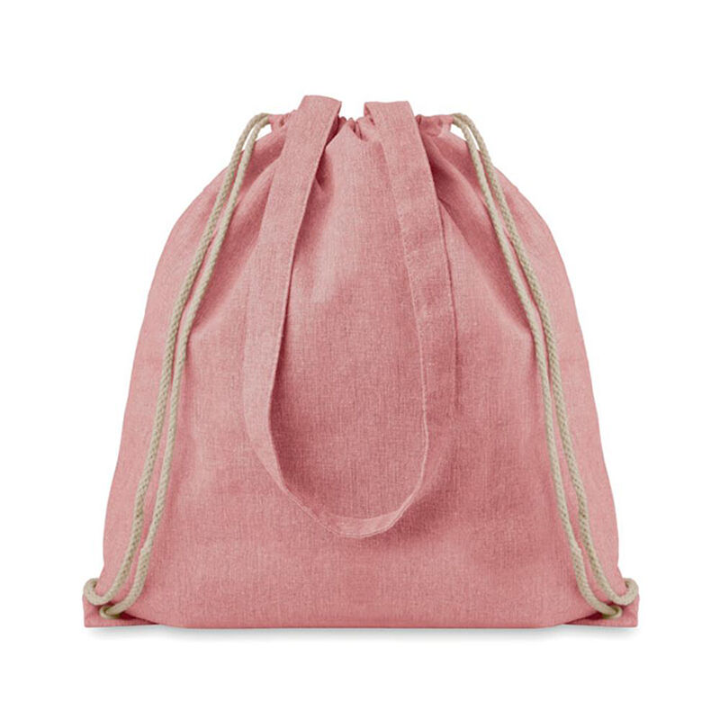 Recycled Cotton Drawstring Bag Pink