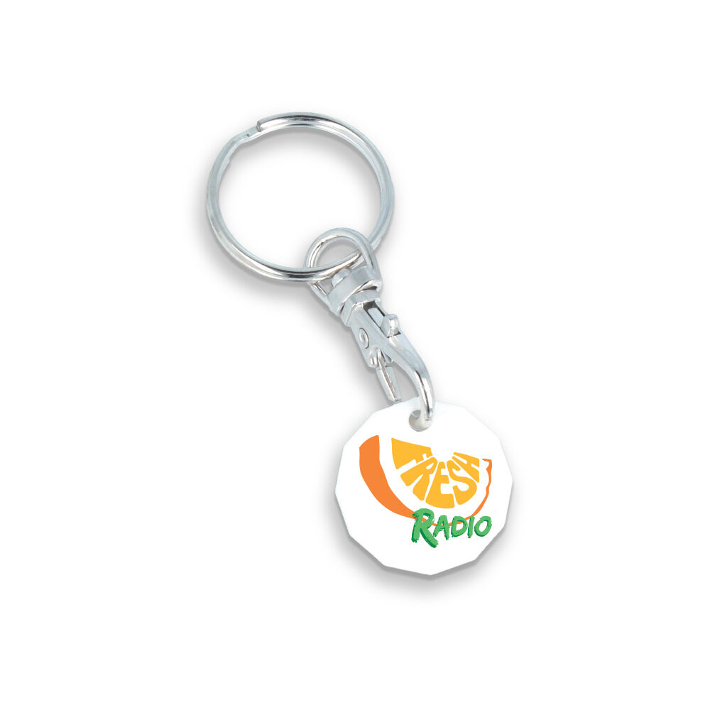 Trolley Coin Keyring in Recycled Plastic