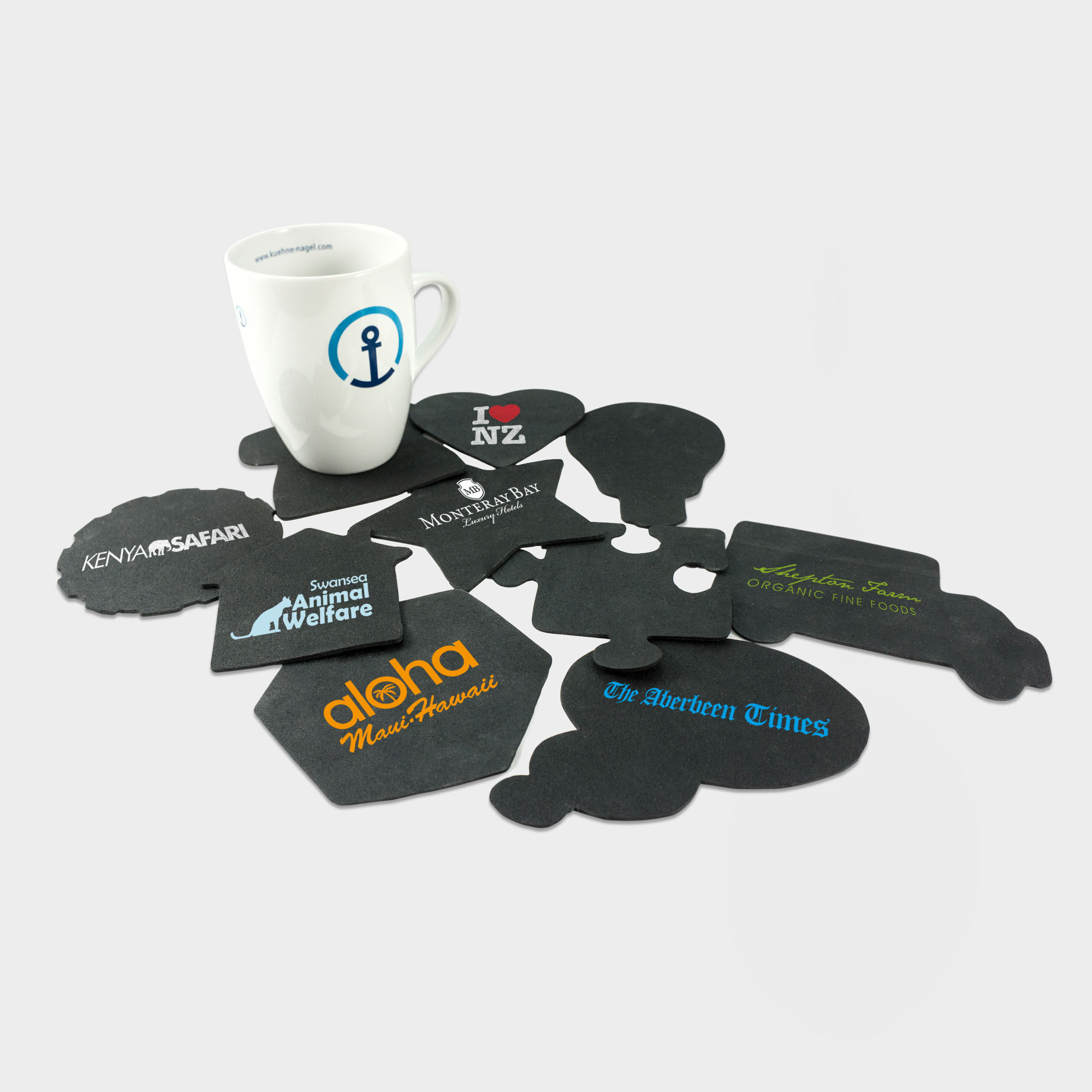 Branded Coasters made from Recycled Tyres