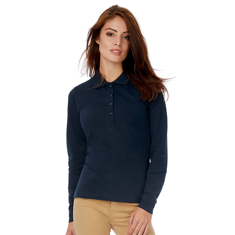 B&C Safran Long Sleeve Piqué Polo Shirts Ladies