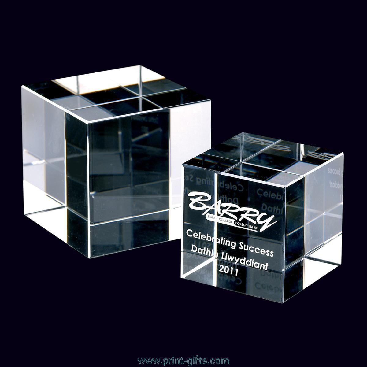 Optical Crystal Engraved Cube Award