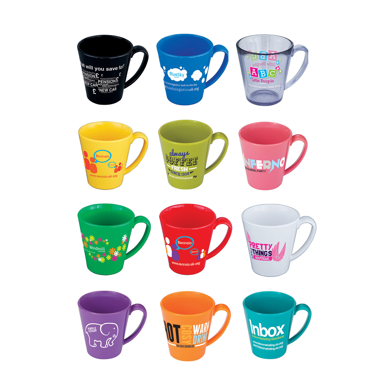 Colourful Plastic Mugs to Print